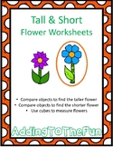 Tall & Short Spring Flower Measurement Worksheets