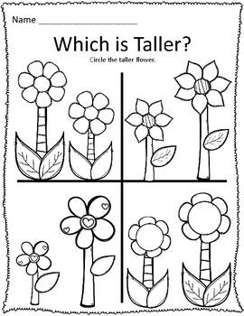 Tall & Short Spring Flower Measurement Worksheets by ...