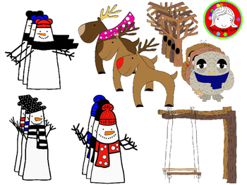 Snowmen and Friends Clipart (Personal & Commercial Use)
