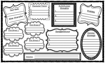 Tall Tale Elements Story Map & Writing Graphic Organizer