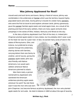 graphic relating to Johnny Appleseed Printable Story called Johnny Appleseed Worksheets Coaching Elements TpT