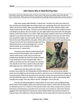 Tall Tale Lesson: John Henry +10 Reading Comprehension Multiple Choice Questions