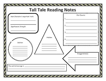 tall tale reading notes organizer by rollinthrough3rdgrade tpt