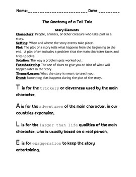 Tall Tale Reading and Writing Complete Unit