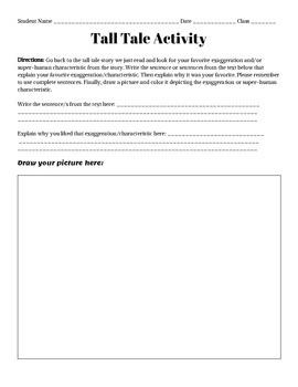 Tall Tale Worksheet