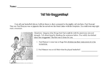 Tall Tale Worksheet: Writing Exaggerations - PAUL BUNYAN F