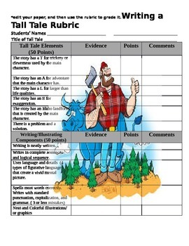Tall Tale Writing Organizer and Rubric