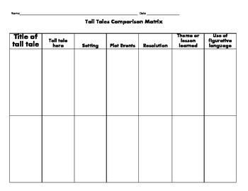 Tall Tale comparison matrix graphic organizer