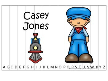 Tall Tales Casey Jones themed Alphabet Sequence Puzzle.  Preschool learning game