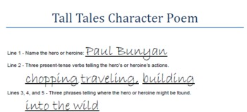 Tall Tales Character Poem