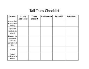 Tall Tales Checklist