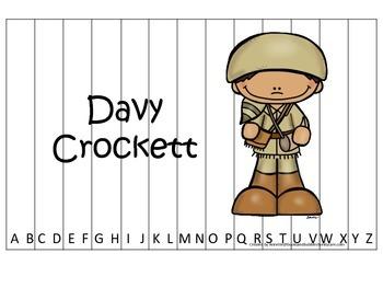 Tall Tales Davy Crockett  themed Alphabet Sequence Puzzle.  Preschool learning.