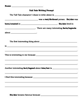 Tall Tales Guided Writing Prompt