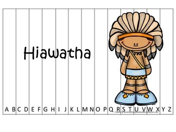 Tall Tales Hiawatha themed Alphabet Sequence Puzzle.  Preschool learning game