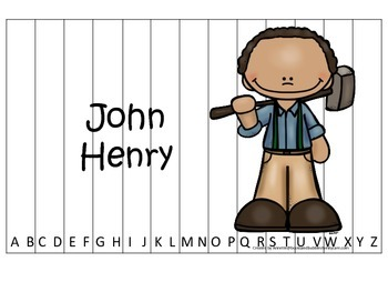 Tall Tales John Henry themed Alphabet Sequence Puzzle.  Preschool learning game