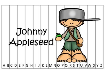 Tall Tales Johnny Appleseed  themed Alphabet Sequence Puzzle.  Preschool game.