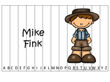 Tall Tales Mike Fink themed Alphabet Sequence Puzzle.  Preschool learning game