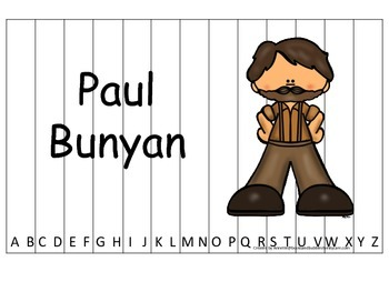 Tall Tales Paul Bunyan themed Alphabet Sequence Puzzle.  Preschool learning game
