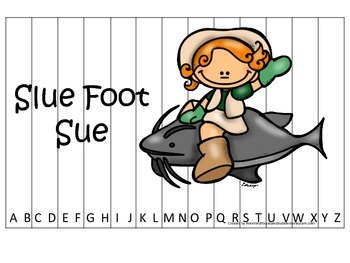 Tall Tales Slue Foot Sue themed Alphabet Sequence Puzzle.  Preschool learning.