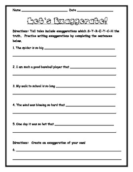 Tall Tales Story Map and Exaggerations Activity Sheet