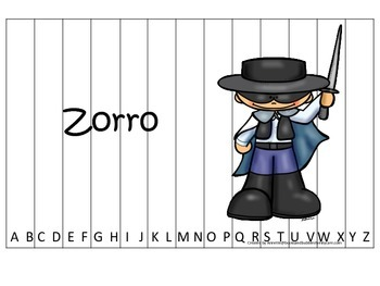 Tall Tales Zorro themed Alphabet Sequence Puzzle.  Preschool learning game