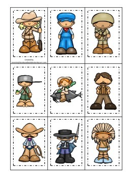 Tall Tales themed Memory Matching Cards.  Preschool learni
