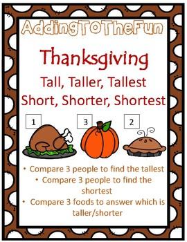 Tall, Taller, Tallest & Short, Shorter, Shortest ~ Thanksgiving Measurement