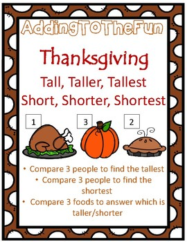 Tall, Taller, Tallest & Short, Shorter, Shortest ~ Thanksgiving Measurement