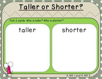 Taller or Shorter Student Mat (***FREEBIE***Kindergarten-K.MD.1 and K.MD.2)