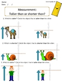 Taller than/Shorter than worksheet, nonstandard measurement