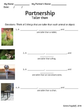 Taller than/Shorter than worksheet with real objects/images