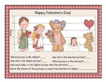 Tallest or Shortest? Valentine's Day Measuring Activity