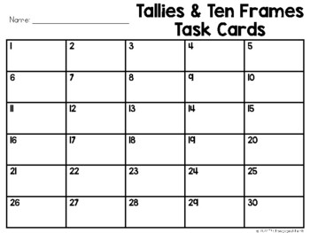 Tallies and Ten Frames Task Cards