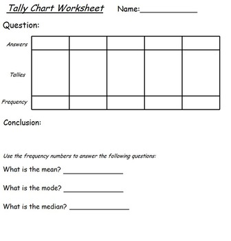 Tally Chart Survey Sheet