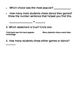 Tally Chart with Common Core Aligned Questions