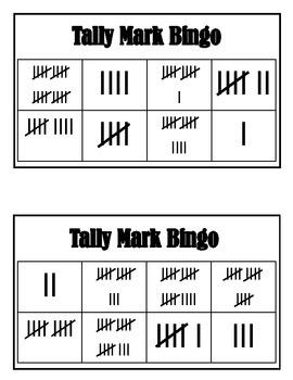 Tally Mark Bingo Numbers 1-20