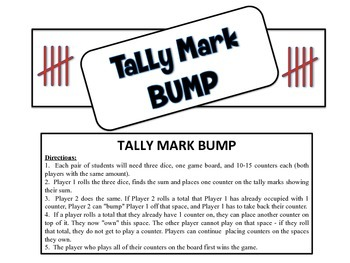 Tally Mark Bump - A 2-Player Game to Practice Identifying Tally Marks