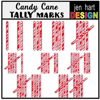Christmas Tally Mark Clip Art ~ Candy Canes ~ 1-10