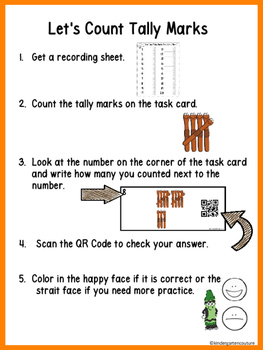 Tally Mark Counting Task Cards 1-20 Worms QR Code (Optional)