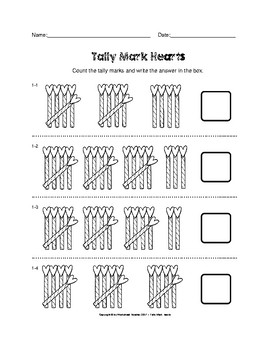 Tally Mark Hearts Valentine's Day Worksheets