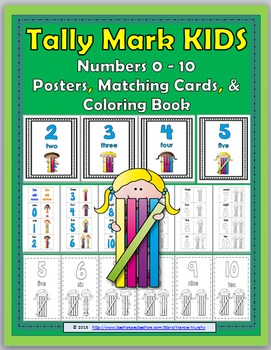 Tally Marks Posters, Matching Cards, and Coloring Book Num