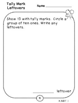 Tally Mark Leftover Place Value Pages (Kindergarten-K.NBT.1)