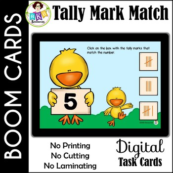 Tally Mark Match ● Digital Task Cards ● Boom Cards ● Numbers 1-10