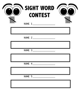 Sight Word Tally Tracker Game