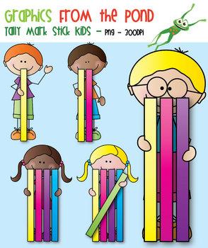 Tally Mark Stick Kids - Clipart for Teaching