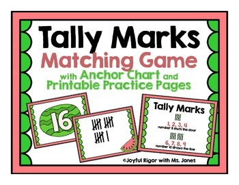 Tally Marks - A Memory Game, Anchor Chart, and Practice
