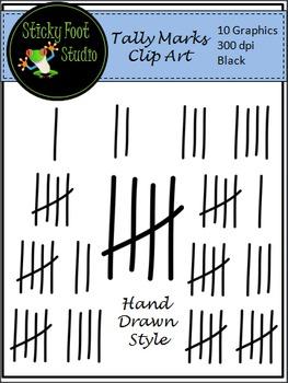Tally Marks Clip Art - Black Hand Drawn Style
