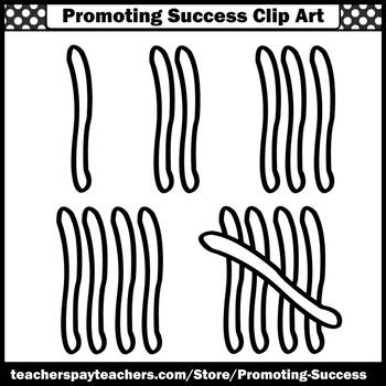 Tally Marks Clip Art, Elementary Math Clipart for Worksheets & Activities SPS