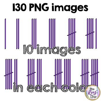 Tally Marks Clip Art  (130 Images in 13 Color Choices for Numbers 1-10)