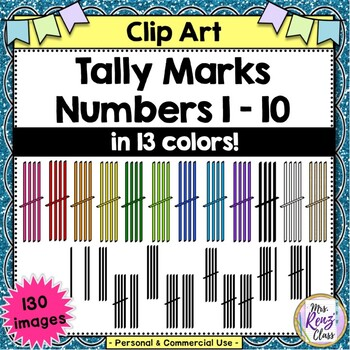 Tally Marks Clip Art  (130 Images in 13 Color Choices for